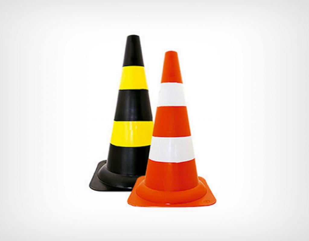 Cone de PVC 50cm Branco-Laranja ou Preto-Amarelo